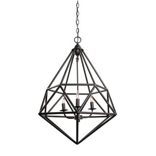 Varaluz Facet 3-light Forged Iron Pendant