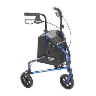 3-Wheel Rollator Walker with Basket Tray and Pouch