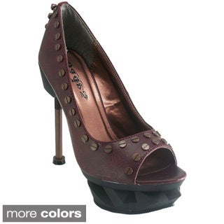 Hades Women's 'Iron Punk' Leather Machine Rivet Peep-toe Pumps