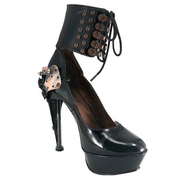 Hades Women's 'Appolo' Black High Machine Ankle Cuff Pumps
