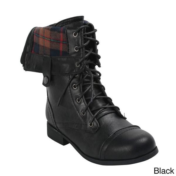 Bumper Women's 'Freda03X' Mid-Calf Combat Boots