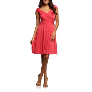 London Times Women's Drape Jersey Knit Dress