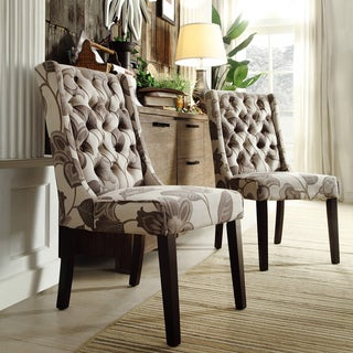 INSPIRE Q Evelyn Grey Floral Tufted Back Hostess Chairs (Set of 2)