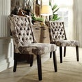 Inspire Q Alya Floral Poppy Fabric Tufted Back Hostess Chair (Set of 2)