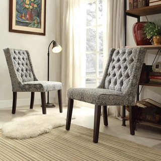INSPIRE Q Evelyn Blue Damask Tufted Back Hostess Chairs (Set of 2)