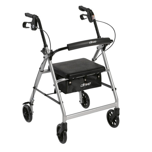 Walker Rollator with 6-inch Wheels, Fold-up Removable Back Support, and Padded Seat