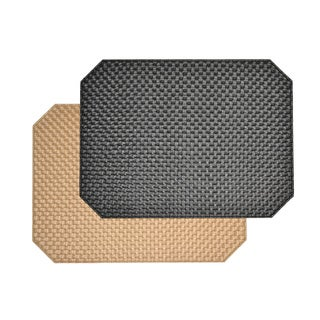 Reversible Faux Leather Weave Black/ Gold Placemats (Set of 2)