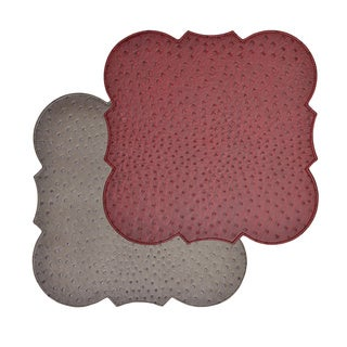 Reversible Faux Leather Ostrich Wine/ Grey Placemats (Set of 2)