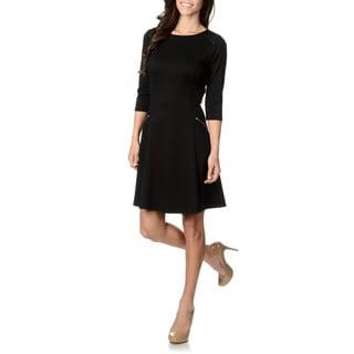 Lennie for Nina Leonard Women's Black Leatherette Trim Ponte Dress