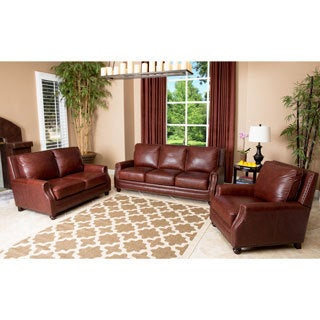 Abbyson Living Verona 3 Piece Hand Rubbed Leather Sofa, Loveseat, and Armchair