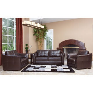 Abbyson Living Torrance Premium Dark Brown Leather 3-piece Living Room Furniture Set