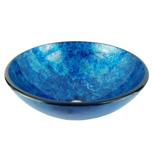 Fontaine Stratosphere Blue Crackle Foil Leaf Glass Vessel Sink