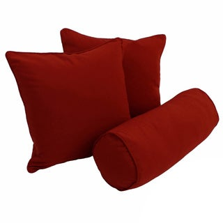 Blazing Needles Twill Solid Square and Cylindrical Throw Pillows (Set of 3)
