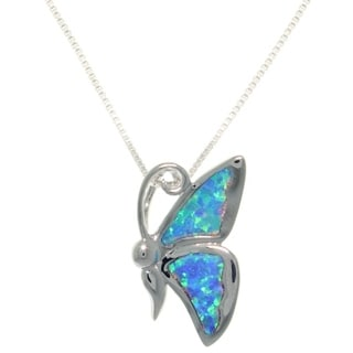 CGC Sterling Silver Created Opal Butterfly Necklace