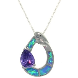 CGC Sterling Silver Created Opal and Purple CZ Open Teardrop Necklace