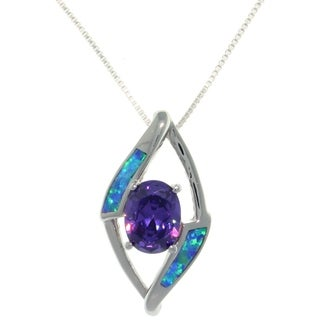 CGC Sterling Silver Created Opal and Purple CZ Diamond-Shaped Necklace