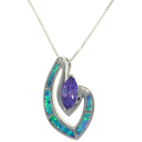 CGC Sterling Silver Created Opal and Purple CZ Marquise Designed Necklace