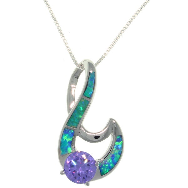 CGC Sterling Silver Created Opal and Purple CZ Fancy Swirl Necklace