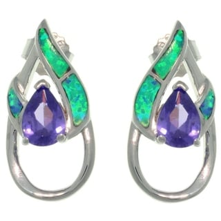 CGC Sterling Silver Created Opal and Purple CZ Double Pear Shaped Earrings