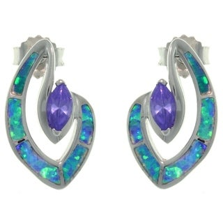 CGC Sterling Silver Created Opal and Purple CZ Marquise Designed Earrings