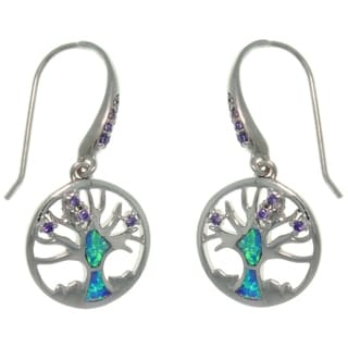 CGC Sterling Silver Created Opal and CZ Tree of Life Earrings