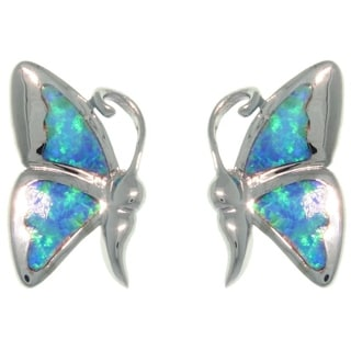 CGC Sterling Silver Created Opal Vibrant Butterfly Earrings