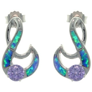 CGC Sterling Silver Created Opal and Purple CZ Fancy Swirl Earrings