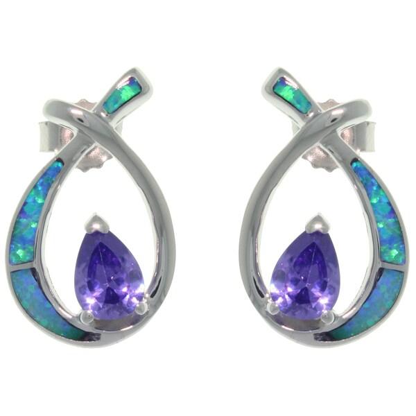 CGC Sterling Silver Created Opal and Purple CZ Teardrop Earrings