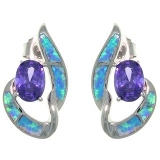 CGC Sterling Silver Created Opal and Purple CZ Night Dreams Earrings