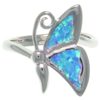 CGC Sterling Silver Created Opal Butterfly Ring