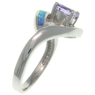 CGC Sterling Silver Created Opal and Round Purple Cubic Zirconia Ring
