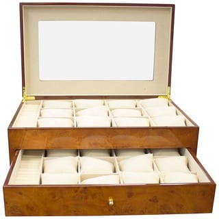 Golden Burlwood Watch Case and Display
