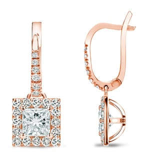 Auriya 14k Rose Gold 1ct TDW Princess Cut Diamond Leverback Earrings (H-I, SI1-SI2)