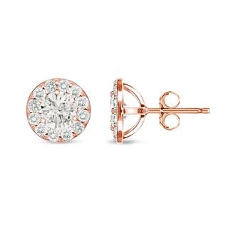 Auriya 14k Rose Gold 1/2ct TDW Round Diamond Stud Earrings (I-J, I1-I2)