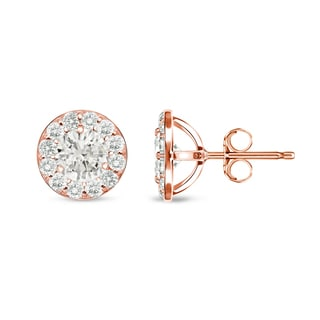 Auriya 14k Rose Gold 1/2ct TDW Round Diamond Stud Earrings (I-J, I1-I2)