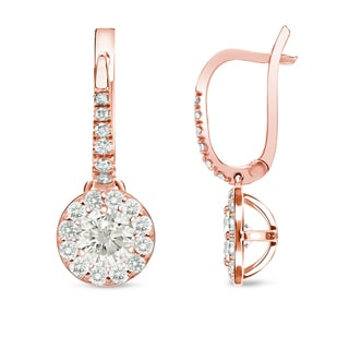 Auriya 14k Rose Gold 1/2ct TDW Round Diamond Leverback Earrings (I-J, I1-I2)