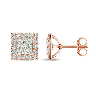 Auriya 14k Rose Gold 3/4ct TDW Princess Diamond Stud Earrings (I-J, I1-I2)