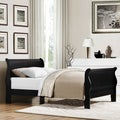 Canterbury 'Louis Phillip' Queen-size Black Sleigh Bed with Bonus Nightstand