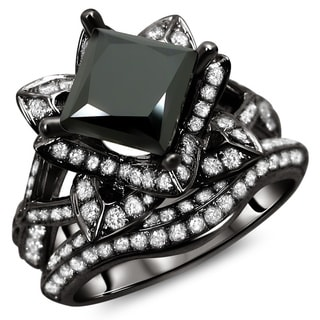 Noori 14k Black Gold 3 1/10ct TDW Certified Black Princess Cut Lotus Flower 2-piece Diamond Ring Set
