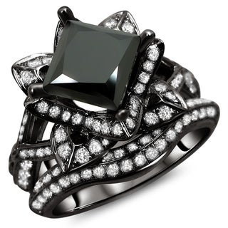 14k Black Gold 3.10ct TDW Certified Black Princess Cut Lotus Flower 2-Piece Diamond Ring Set