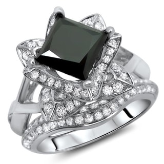 14k White Gold 2 1/2ct Certified Black Diamond Princess Cut Ring Set (G-H, SI1-SI2)
