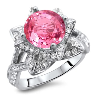 Noori 14k White Gold 2 1/4ct Certified Round Pink Sapphire and Diamond Lotus Flower Ring (G-H, SI1-SI2)