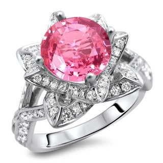 14k White Gold 2 1/4ct Certified Round Pink Sapphire and Diamond Lotus Flower Ring (G-H, SI1-SI2)