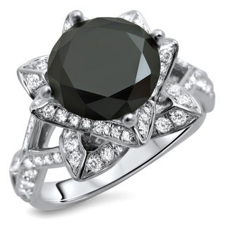 14k White Gold 3 1/10ct Certified Round Black Diamond Lotus Ring (G-H, SI1-SI2)