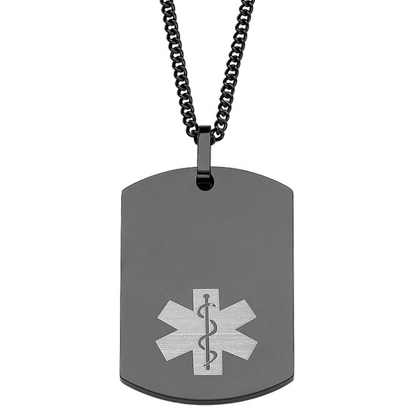 Engraved Black Stainless Steel Medical Alert Dog Tag