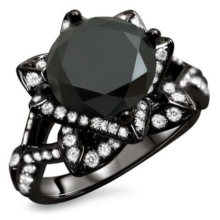14k Black Gold 3 1/10ct TDW Certified Round Black Diamond Lotus Ring (G-H, SI1-SI2)