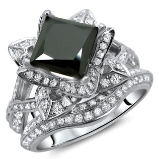 14k White Gold 3ct TDW Certified Black and White Diamond Lotus Flower Ring Set (G-H, SI1-SI2)