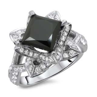 14k White Gold 2 1/2ct TDW Certified Black and White Diamond Lotus Flower Ring (G, SI1-SI2)