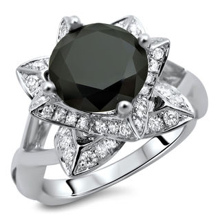 14k White Gold 2 1/2ct TDW Certified Round Black and White Lotus Flower Diamond Ring (VS1-VS2)