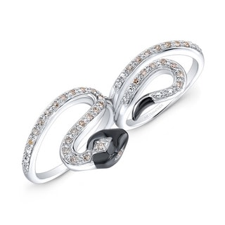 Sterling Silver 1/3ct TDW Double Finger Diamond Snake Ring (J-K, I2-I3)